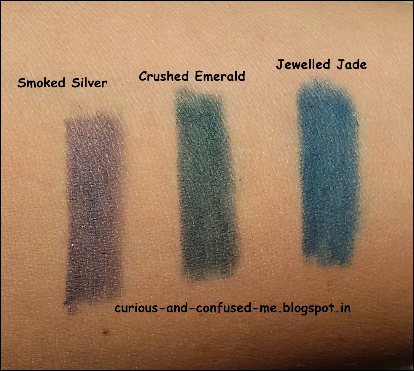 3 new shades of  Maybelline Colossal Kohl, Smoked Silver review, Crushed Emerald review, Jewelled Jade review, Maybelline Colossal Kohl swatches, Colored Maybelline Colossal Kohl review, Maybelline Colossal Kohl Smoked Silver Crushed Emerald Jewelled Jade swatch, Colored eyeliner in India, Kajals under 300 India, Maybelline Kajal