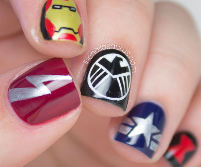 Marvel Avengers Nail Art // The Nailasaurus