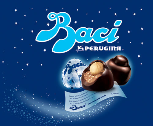 Inside, youll find 21 quality baci: milk chocolate blended with hazelnut