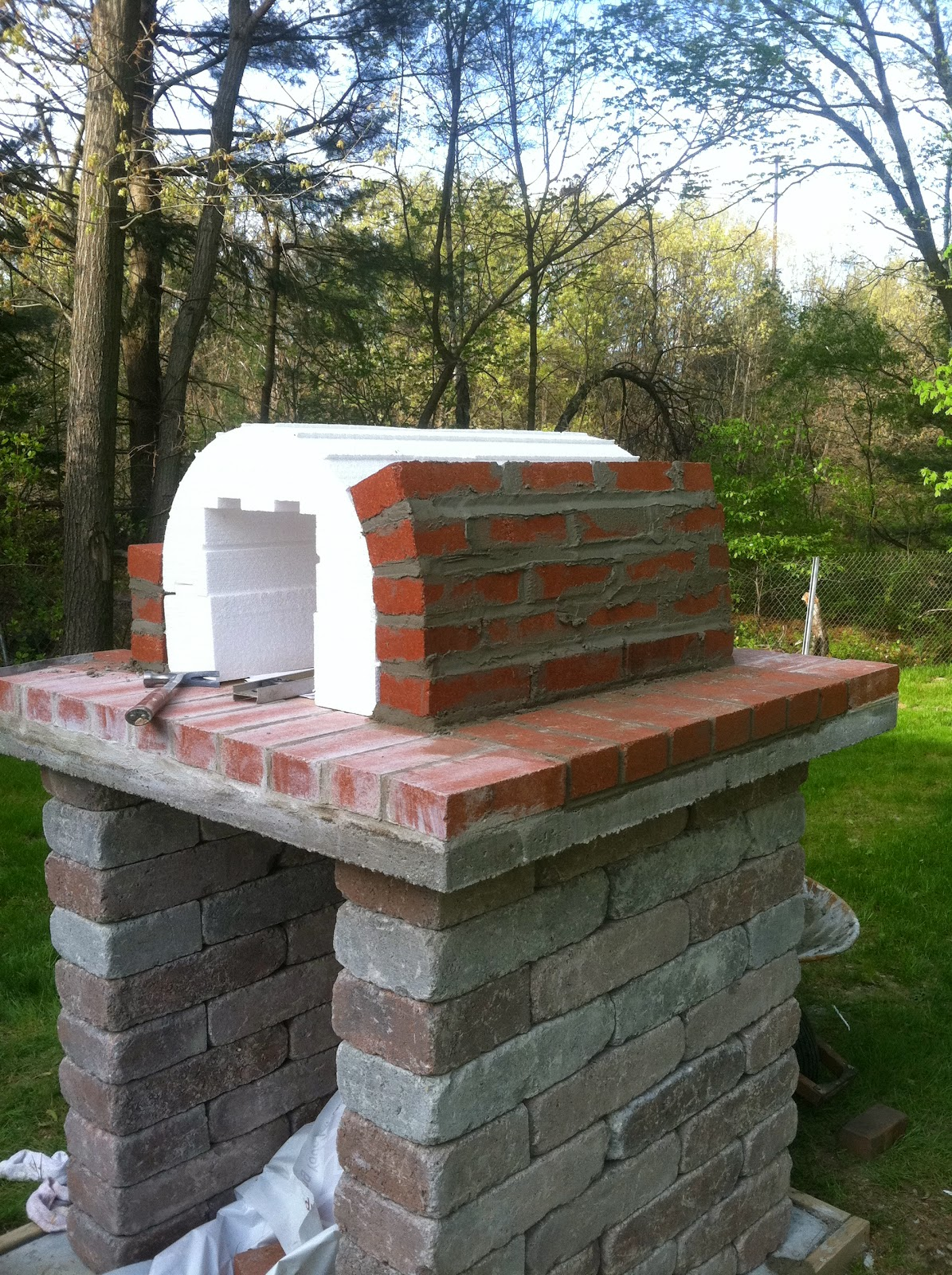 Brick Pizza Oven Base Base With Bricks Arranged In Rough