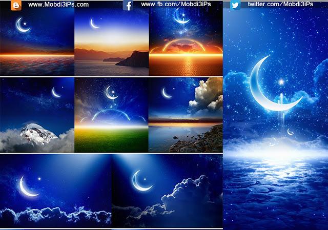 خلفيات قمر مضيئة بجودة عالية Backgrounds with Shiny Moon and Stars