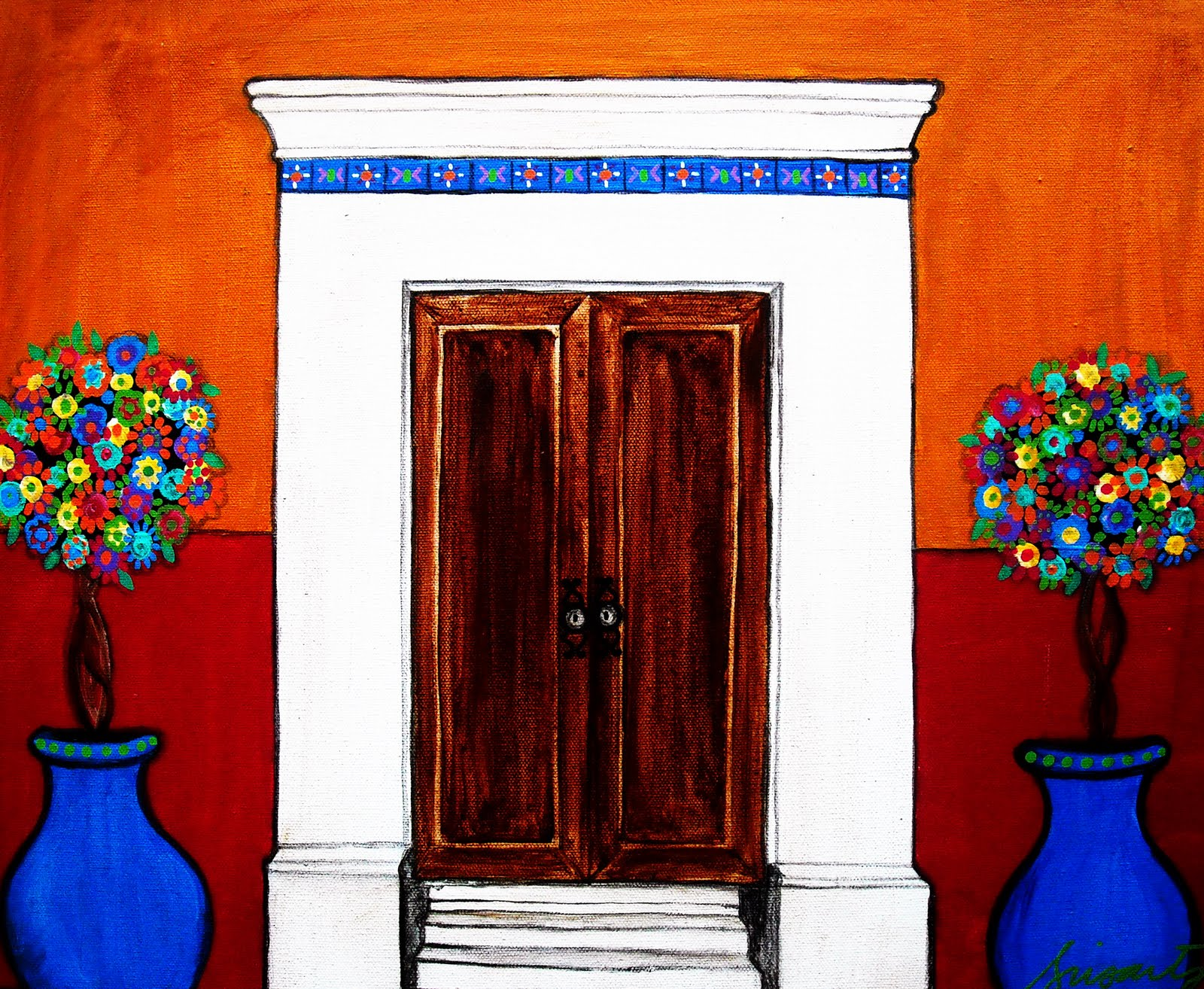 MEXICAN DOOR ORIGINAL FOLK ART PAINTING & Gallery of Modern Folk Artist Pristine Cartera-Turkus: MEXICAN DOOR ...