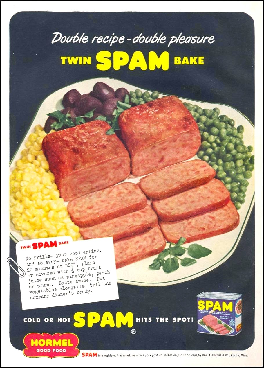 Spam Advertisement Women's Day Magazine December 1949 photo at TJSLabs