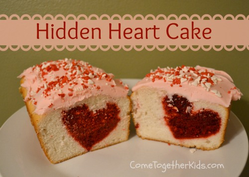 cake with heart baked inside, valentine dessert