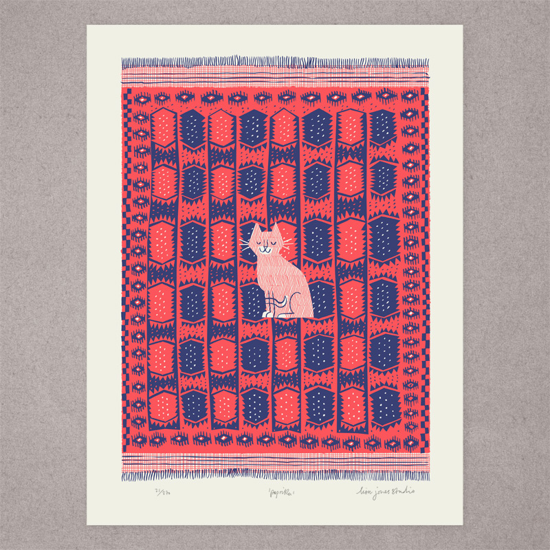 Two-colour screen-printed illustration of cat on patterened kilim rug