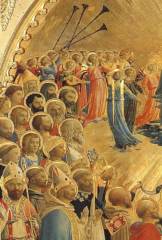 Santos no Céu. Detalhe da Coroação de Nossa Senhora, rainha do Céu. Galeria degli Uffizi, Florença. Fra Angelico (1395 – 1455).