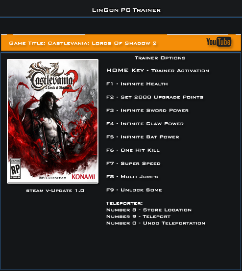 Castlevania Lords Of Shadow 2 v1.0 Trainer +11 [LinGon]