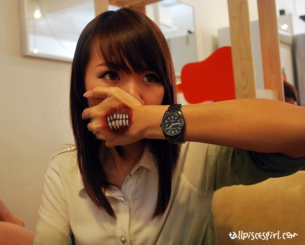 Sher Lynn is practising her make up skills for Halloween. Nice right?