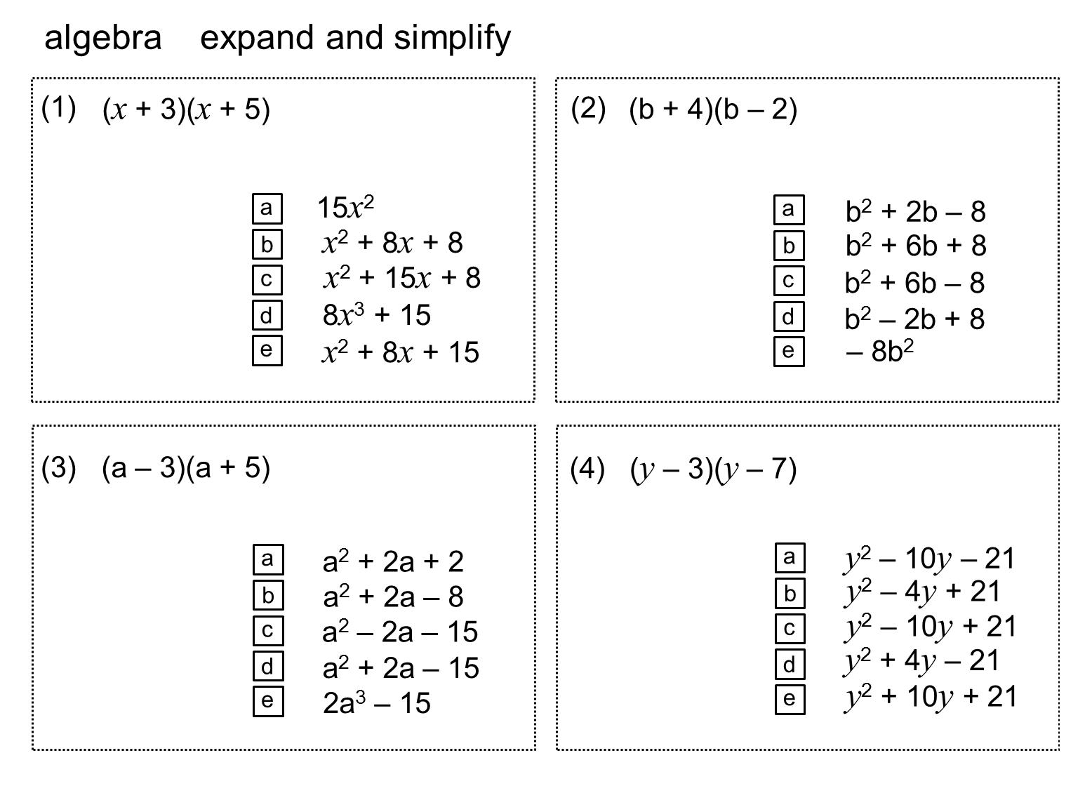 Factorising Expressions Worksheet Algebra Proga Info