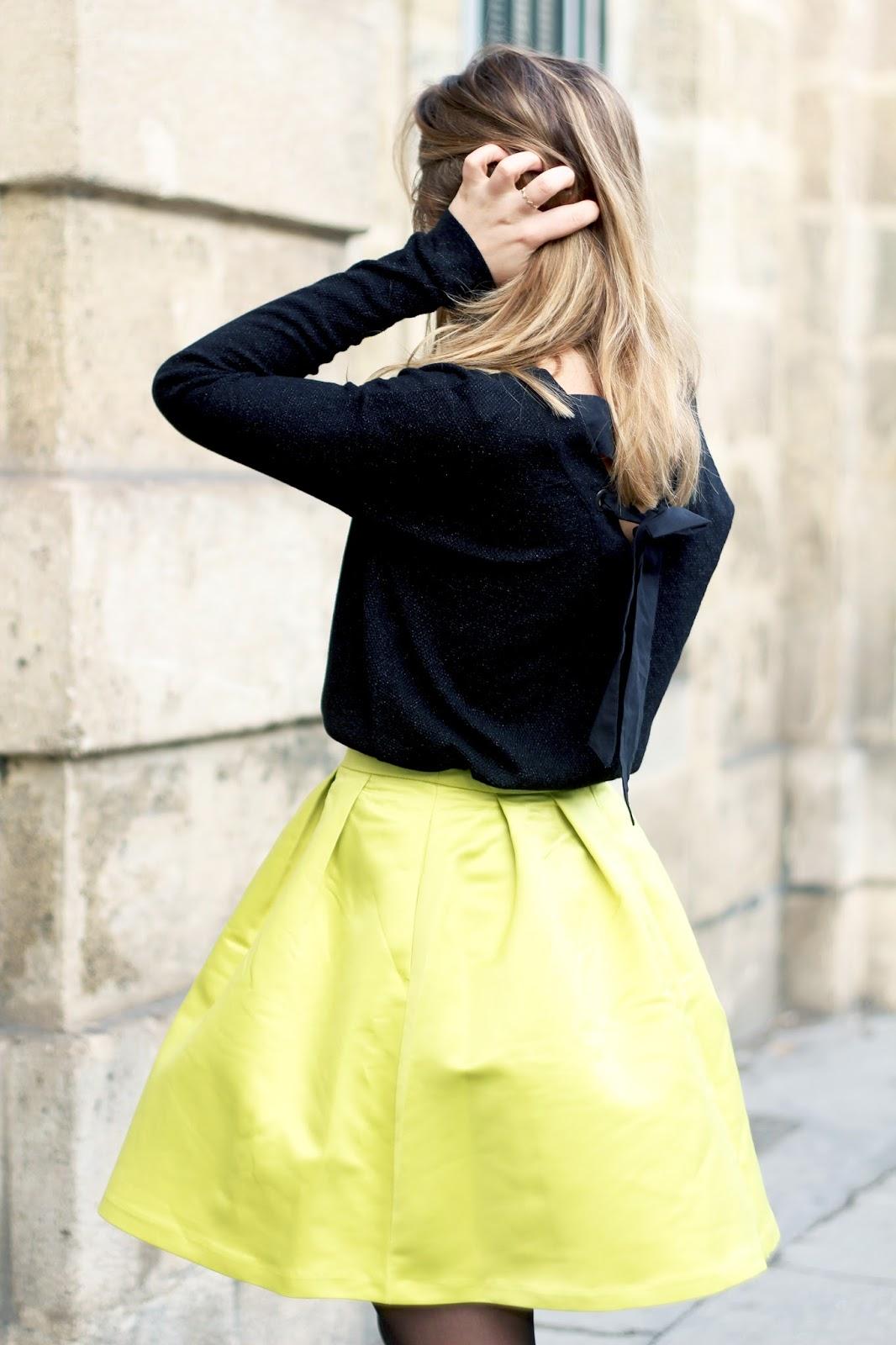 Jupe jaune fluo