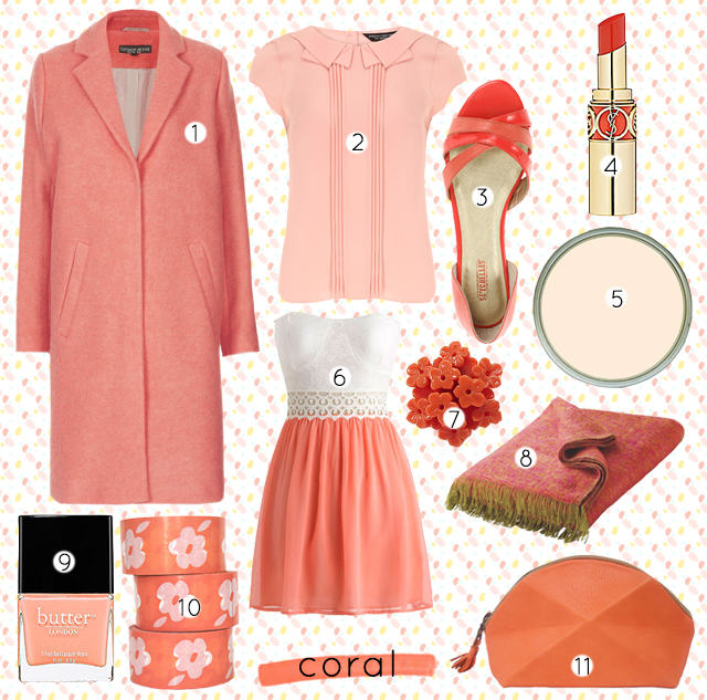 collage of coral coloured products, from fashion to homeware