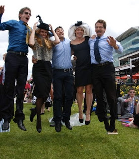 leaping in the air at the Melbourne Cup