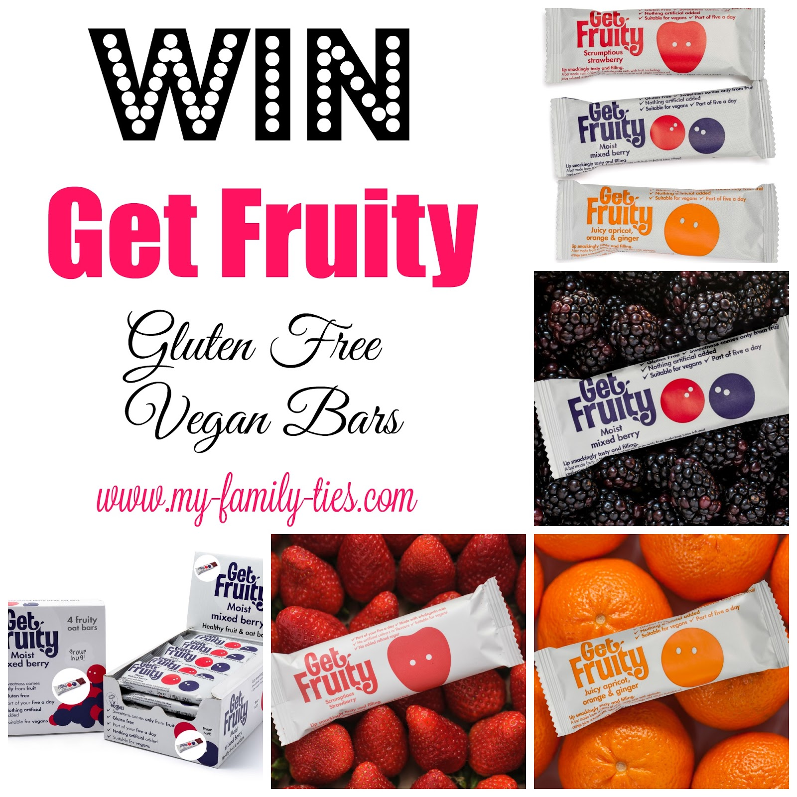 Get Fruity Competition To Win A Box Of Sugar Free, Vegan Bars With My Family Ties Blog www.my-family-ties.com