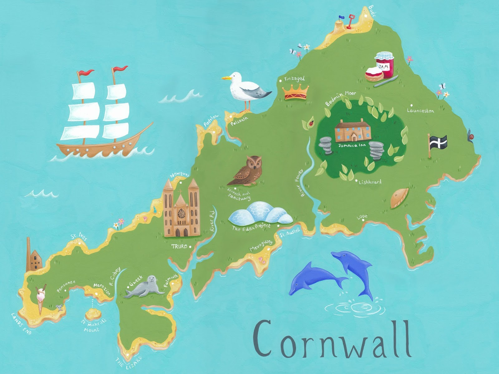 Childrens Map Of Cornwall