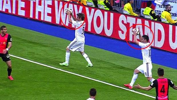 Real Madrid'de aynı anda Kullanılan Taç atışı video izle!