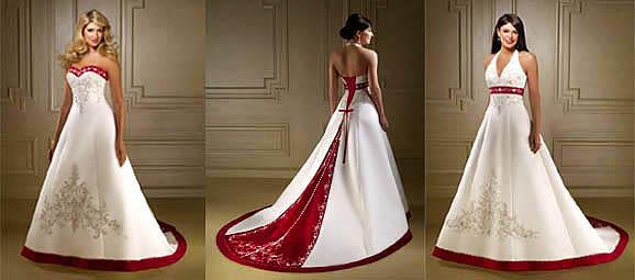 Vestidos de novia con accesorios rojos