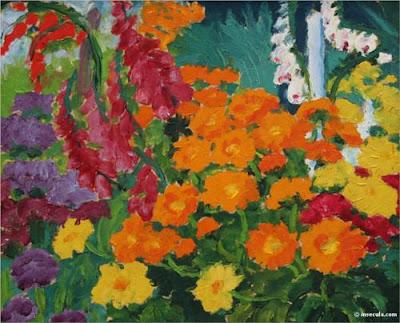 Emil Nolde - Flower garden ( marigold), 1919