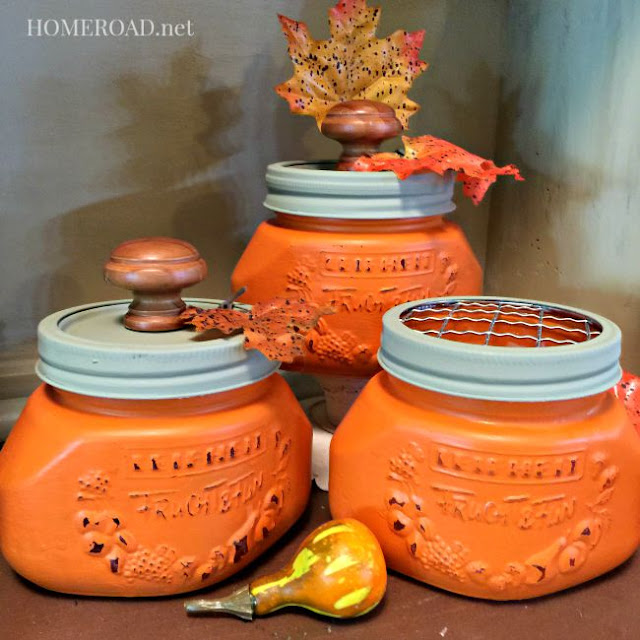 Canning Jar Pumpkins  - featured at KnickofTime.net
