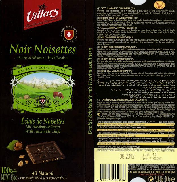 tablette de chocolat noir gourmand villars noir noisettes