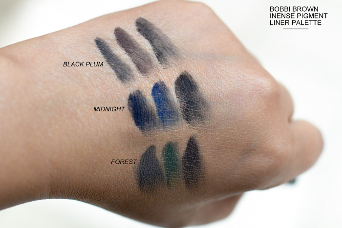 Bobbi Brown Fall 2015 Makeup Greige Collection Intense Liner Pigment Swatches Black Plum Midnight Forest