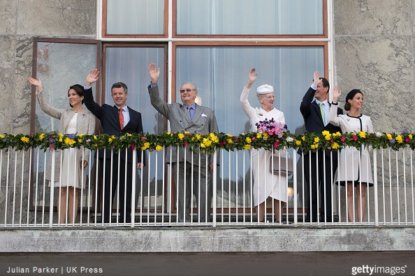 Crown Princess Mary, Crown Prince Frederik of Denmark, Prince Henrik of Denmark, Queen Margarethe II of Denmark, Prince Joachim, and Princess Marie of Denmark, attend a Lunch reception to mark the forthcoming 75th Birthday of Queen Margrethe II of Denmark. at Aarhus City Hall.
