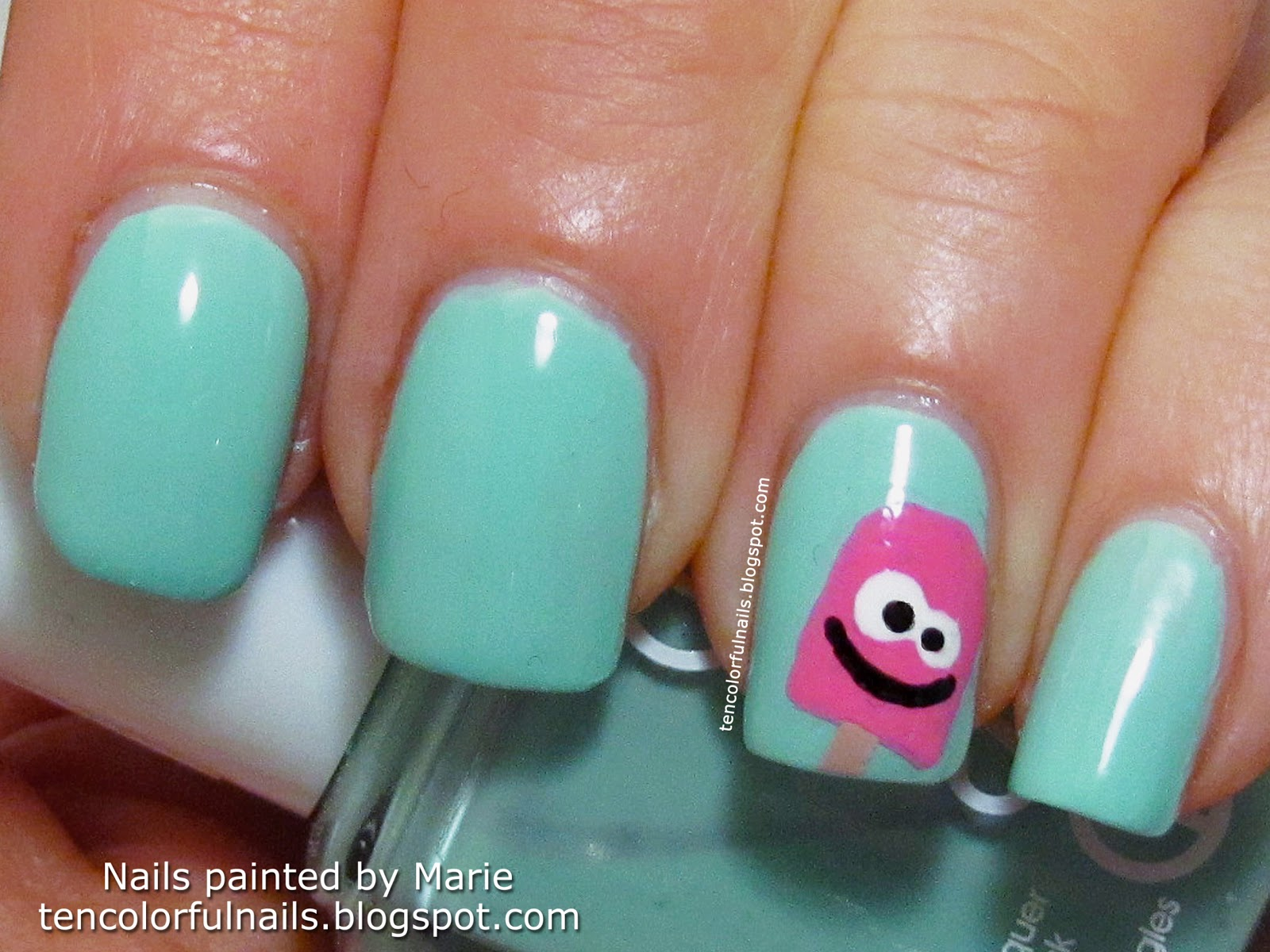 Ten Colorful Nails: Happy Popsicle Nail Art + Tutorial