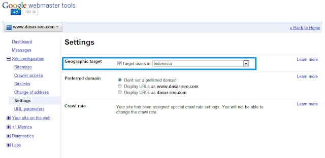 Setting Target Users di Google Webmasters Tools