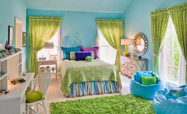 We Love In This Bedroom, The Combination Of Lime Green And Blue Sky.It Look  Loving And Beautiful.
