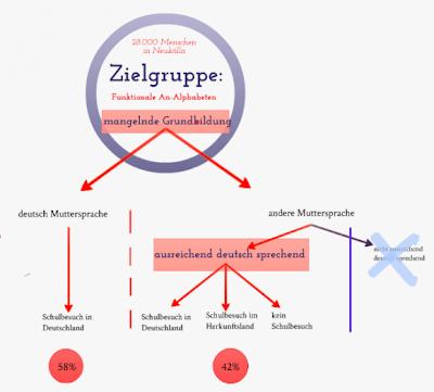 Eigenschaften und Zielgruppe: 58 % der von funktionalem Analphabetismus Betroffenen haben Deutsch als Muttersprache