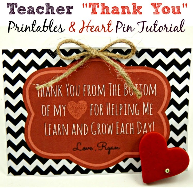 Thank You Printable, Valentines Clay Heart Pin. Clay Heart Pin, Free Printables, Free Valentine's Day Printable