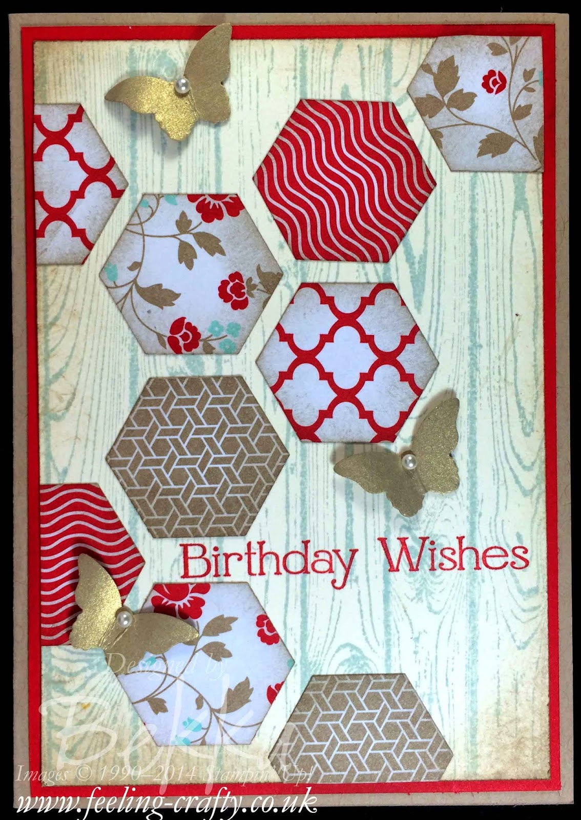 Hardwood and Hexagons Butterfly Birthday Card by Stampin' Up! UK Independent Demonstrator Bekka - check out her blog here