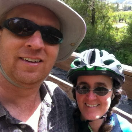 Tight-cropped image of Jonathan Donihue, left, and Cynthia Parkhill on a bridge along the Bear Creek Greenway in southern Oregon