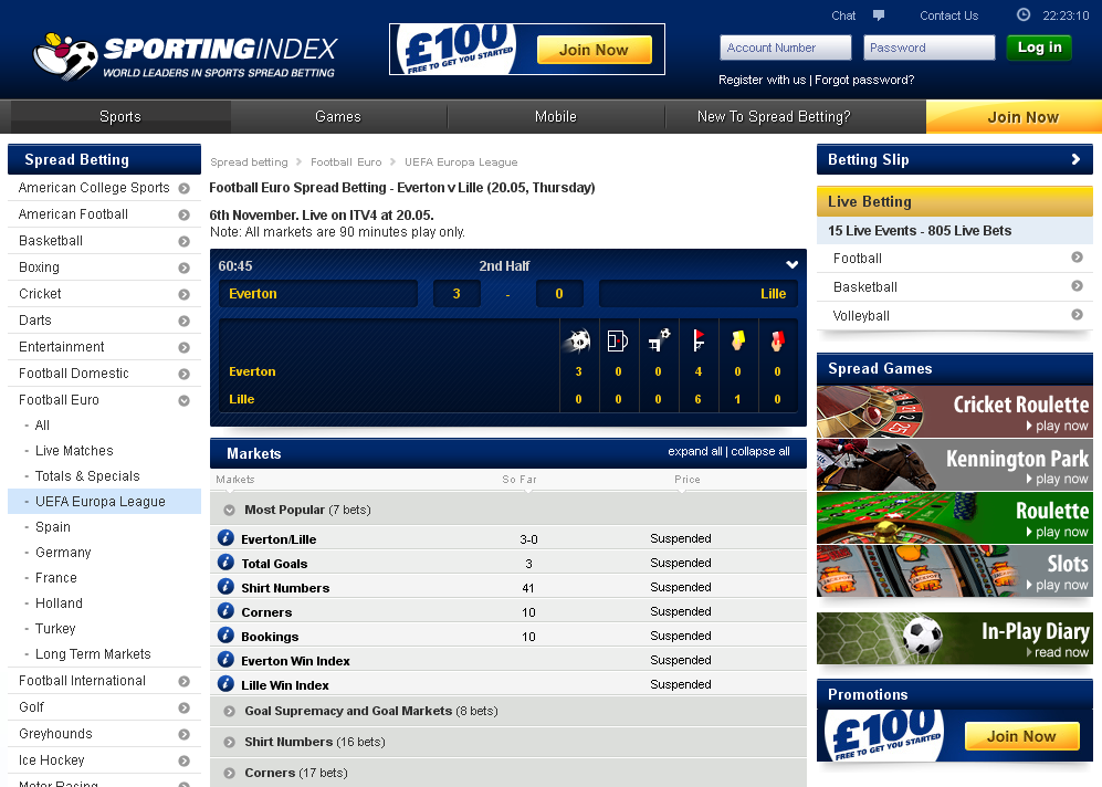 Sporting Index Live Betting Screen