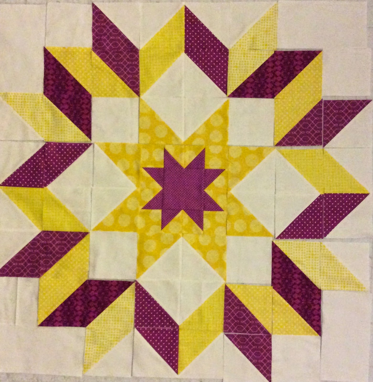 The Starburst Quilt plum and yellow
