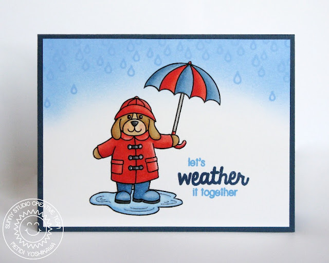 Sunny Studio Stamps Rain or Shine Puppy Dog Card by Mendi Yoshikawa