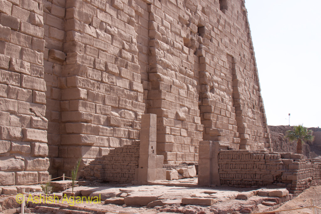 Construction material at the entrance of the grand gate near the Karnak temple