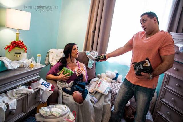 Ensaio fotográfico divertido mostra a rotina dos pais