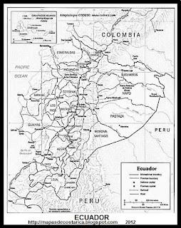 Mapa de ECUADOR, blanco y negro