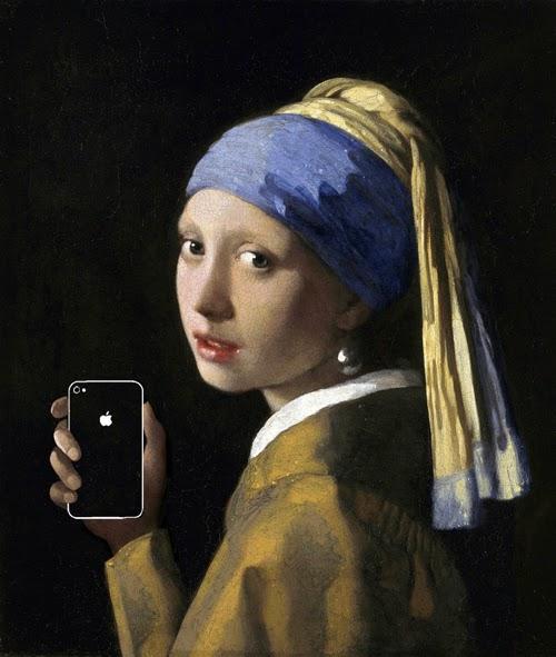 21世紀の技術を象徴するiPhoneやiPadなどのプロダクトを過去の有名な歴史的絵画の中に取り込んだkim dpng-kyuの作品。