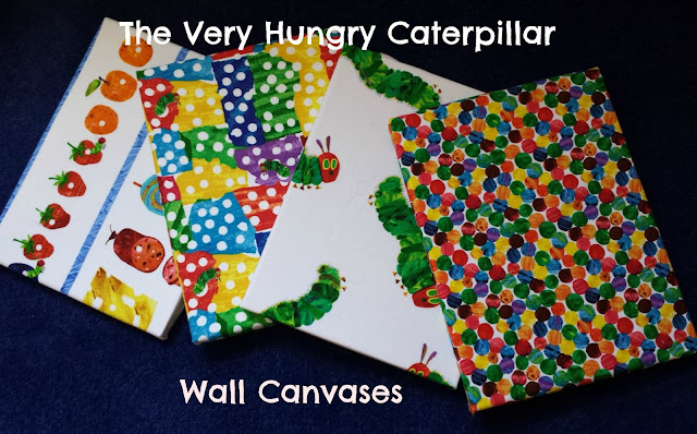 The Very Hungry Caterpillar Wall Art, Hungry caterpillar, homemade canvases, hungry caterpillar canvas, fabric room decorations