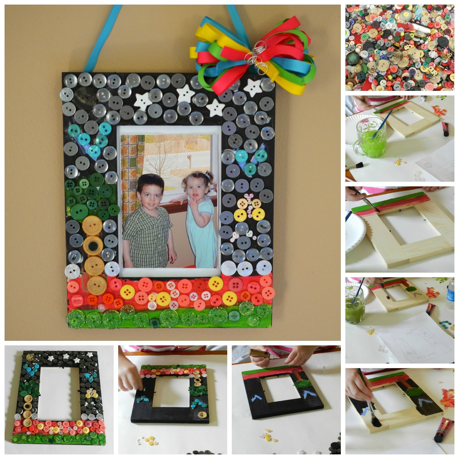 Sewing and Crafting with Sarah: Summer Craft for Kids DIY Button Frame