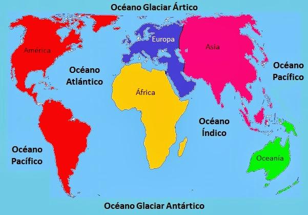 Océanos y continentes.
