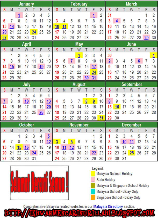 2014 Calendar Malaysia Public Holiday