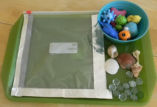 photo of objects to add to water sensory bag for preschoolers