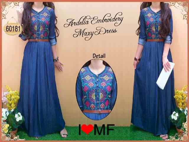 bahan denim bordir fit to L