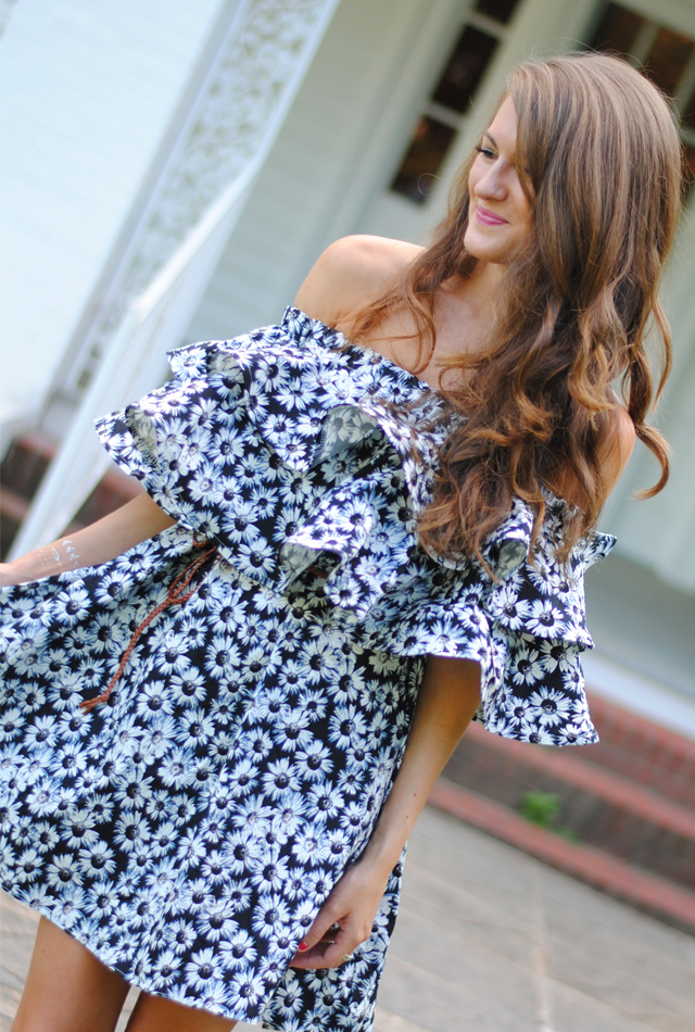 Off-shoulder, ruffle dress