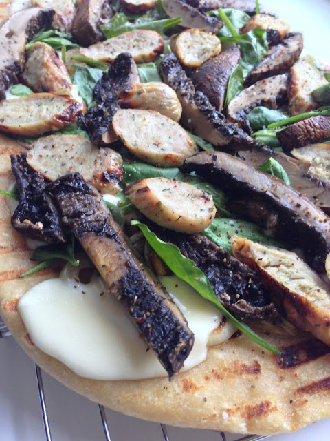 Grilled Pizza with Spinach, Portobellos, and Sausage