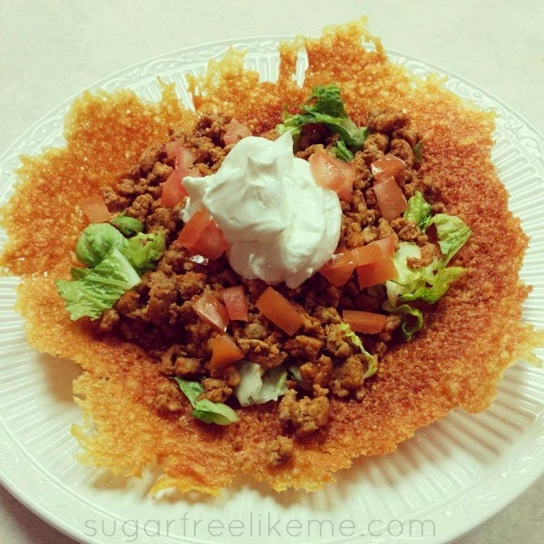 Low Carb Taco Salad with a melted cheese taco shell