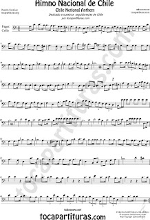 Himno Nacional de Chile Partitura de Violonchelo y Fagot Sheet Music for Cello and Bassoon Music Scores