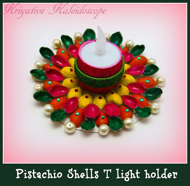 Kriya Tive Kaleidoscope T Light Holder Using Pistachio Shells